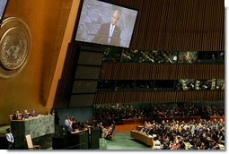 "President George W. Bush speaks before the United Nations General Assembly Tuesday, Sept. 23, 2008, in New York City. The President told his audience, ""Advancing the vision of freedom serves our highest ideals, as expressed in the U.N.'s Charter's commitment to ""the dignity and worth of the human person."" Advancing this vision also serves our security interests. History shows that when citizens have a voice in choosing their own leaders, they are less likely to search for meaning in radical ideologies. And when governments respect the rights of their people, they're more likely to respect the rights of their neighbors.""  White House photo by Chris Greenberg"