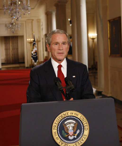 President George W. Bush addresses the nation from the East Room of the White House, Wednesday evening, Sept. 24, 2008, on the nation's financial crisis. President Bush has invited legislative leaders from the House and Senate, including both Presidential candidates, to a meeting Thursday at the White House to discuss a bipartisan plan to rescue the economy. White House photo by Eric Draper