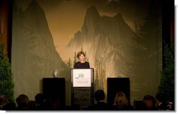 "Mrs. Laura Bush addresses the National Park Foundation's ""Expedition America!"" Gala Wednesday, Sept. 24, 2008, at the Chelsea Piers in New York City. Mrs. Bush told her audience, ""For more than 40 years, the National Park Foundation has been leading this cause as the only national charitable partner of America's parks. National parks are the backdrop for many Americans' favorite memories -- including mine. Together with the National Park Foundation, we can preserve these national wonders and ensure park visitors make new memories for generations to come.""  White House photo by Chris Greenberg"
