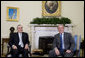 "President George W. Bush welcomes President Michel Sleiman of Lebanon to the Oval Office Thursday, Sept. 25, 2008, at the White House. Said President Bush, ""The United States is proud to stand by your side. Our mission is your mission: a country that is strong and capable, and a country where people can live in peace. And so I welcome you. It's been a long time since the President of Lebanon has been in the Oval Office. It is my honor to host you for this occasion."" White House photo by Joyce N. Boghosian"