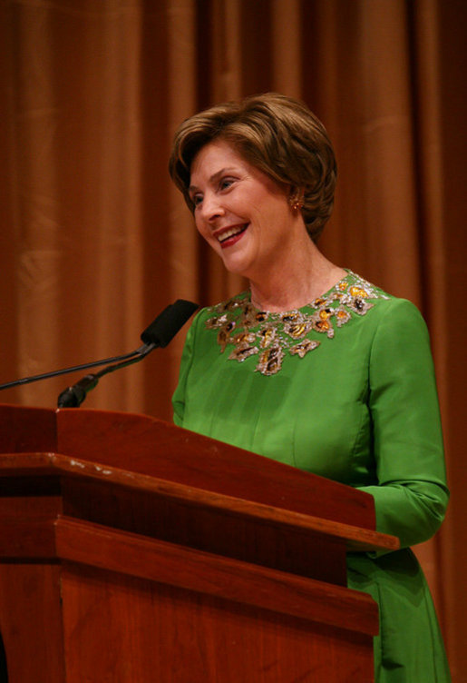 Mrs. Laura Bush addresses her remarks Friday evening, Sept. 26, 2008 in Washington, D.C., during the 2008 National Book Festival Gala Performance, an annual event celebrating books and literature. White House photo by Joyce N. Boghosian