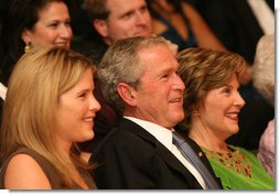 President George W. Bush, Mrs.Laura Bush and their daughter, Jenna Hager are seen together at the Library of Congress Friday evening, Sept. 26, 2008 in Washington, D.C., during the 2008 National Book Festival Gala Performance, an annual event celebrating books and literature. White House photo by Joyce N. Boghosian