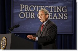"President George W. Bush delivers remarks on U.S. Ocean Action Plan Friday, Sept. 26, 2008, at the Smithsonian Museum of Natural History. The U.S. Ocean Action Plan established a coordinated ocean governance structure to enhance leadership and coordination among the Federal agencies with ocean-related responsibilities and activities. President Bush stated in his remarks, ""Under the Ocean Action Plan we've worked to stop over-fishing. Last year, I issued an executive order protecting two of our nation's most popular game fish -- striped bass and red drum. I signed important legislation reauthorizing the Magnuson Stevenson Act, which sets a firm deadline to end over-fishing in America by 2011.""  White House photo by Eric Draper"