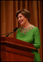 Mrs. Laura Bush addresses her remarks Friday evening, Sept. 26, 2006 in Washington, D.C., during the 2008 National Book Festival Gala Performance, an annual event celebrating books and literature. White House photo by Joyce N. Boghosian