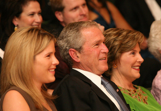President George W. Bush, Mrs.Laura Bush and their daughter, Jenna Hager are seen together at the Library of Congress Friday evening, Sept. 26, 2006 in Washington, D.C., during the 2008 National Book Festival Gala Performance, an annual event celebrating books and literature. White House photo by Joyce N. Boghosian