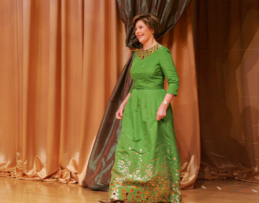 Mrs. Laura Bush is introduced at the 2008 National Book Festival Gala Performance Friday, Sept. 26, 2008, where Mrs. Bush delivered remarks at the Library of Congress in Washington, D.C. White House photo by Joyce N. Boghosian