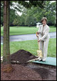 Mrs. Laura Bush shovels dirt onto a Silver Leaf Linden during a commemorative tree planting ceremony Saturday, Sept. 27, 2008, on the South Lawn of the White House. The tradition of planting a commemorative tree dates back to 1830 when President Andrew Jackson two Southern Magnolias on either side of the South Portico of the White House. White House photo by Joyce N. Boghosian