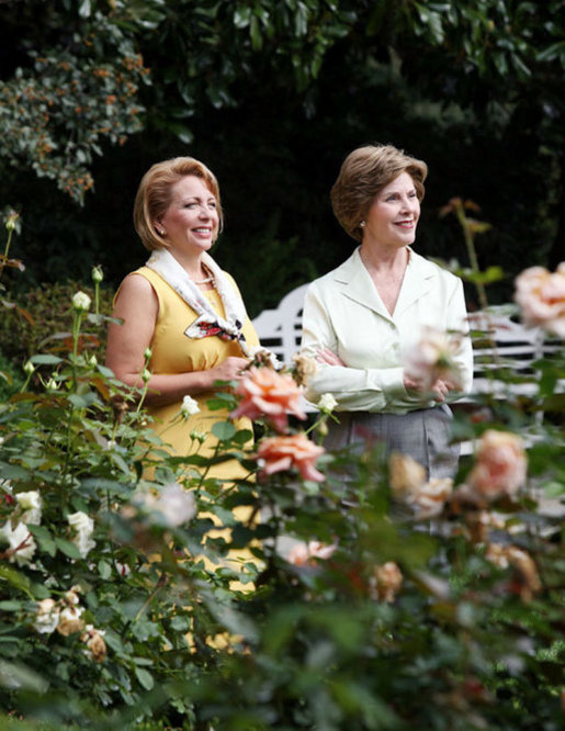Mrs. Laura Bush talks with Mrs. Kateryna Yushchenko, wife of President Viktor Yushchenko of Ukraine, during a walk through the Rose Garden Monday, Sept. 29, 2008, at the White House. White House photo by Joyce N. Boghosian