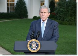 "President George W. Bush delivers a statement at the White House Monday, Sept. 29, 2008, on Financial Rescue Legislation. Said the President, ""This legislation deals with complex issues, and negotiators were asked to address them in a very short period of time. I appreciate the leadership of members on both sides of the aisle, who came together when our nation was counting on them. Negotiations are sometimes difficult, but their hard work and cooperation paid off.""  White House photo by Chris Greenberg"