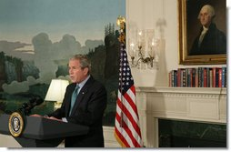 "President George W. Bush delivers a statement at the White House Tuesday, Sept. 30, 2008, regarding the economic rescue plan. Said the President, ""We're at a critical moment for our economy, and we need legislation that decisively address the troubled assets now clogging the financial system, helps lenders resume the flow of credit to consumers and businesses, and allows the American economy to get moving again."" White House photo by Chris Greenberg"