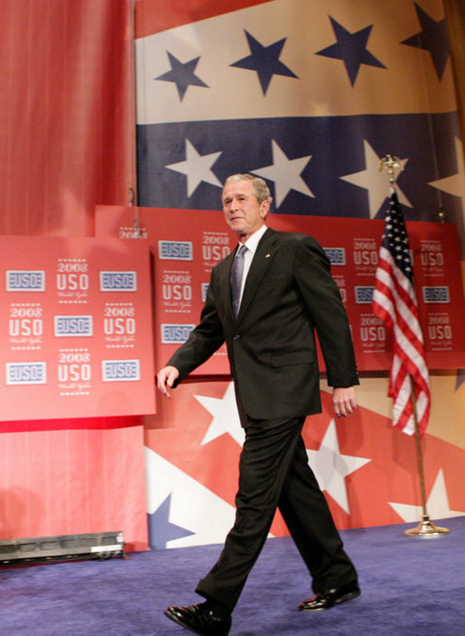 President George W. Bush is introduced on stage prior to his address Wednesday evening, Oct. 1, 2008, at the United Services Organization (USO) World Gala in Washington, D.C. White House photo by Chris Greenberg