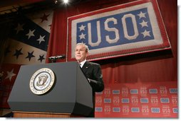 President George W. Bush addresses his remarks to guests Wednesday evening, Oct. 1, 2008, at the United Services Organization (USO) World Gala in Washington, D.C. White House photo by Chris Greenberg