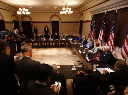 "President George W. Bush delivers remarks during a meeting with representatives of American businesses on the Economic Rescue Package Thursday, Oct. 2, 2008, in the Eisenhower Executive Office Building. The President said, ""I want to thank the job creators who have joined me here today to talk about the state of the economy and the need for the House of Representatives to pass the bill that passed the Senate last night with an overwhelming bipartisan majority."" White House photo by Eric Draper"