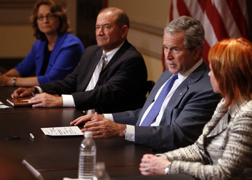 President George W. Bush gestures as he delivers his remarks during a meeting with representatives of American businesses on the Economic Rescue Package Thursday, Oct. 2, 2008, in the Eisenhower Executive Office Building. White House photo by Eric Draper