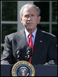 "President George W. Bush pauses as he delivers a statement on the Emergency Economic Stabilization Act of 2008 Friday, Oct. 3, 2008, in the Rose Garden of the White House. Said the President, ""There were moments this week when some thought the federal government could not rise to the challenge. But thanks to the hard work of members of both parties in both Houses -- and a spirit of cooperation between Capitol Hill and my administration -- we completed this bill in a timely manner."" White House photo by Joyce N. Boghosian"