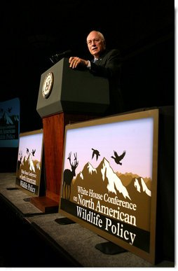 "Vice President Dick Cheney delivers remarks Friday, Oct. 3, 2008 at the White House Conference on North American Wildlife Policy in Reno. ""The men and women in this room understand what conservation is all about,"" said the Vice President. ""It means reverence toward creation, and a commitment to faithful stewardship. It means guarding our spectacular wildlife populations - not just for our own time, but for all time.""  White House photo by David Bohrer"