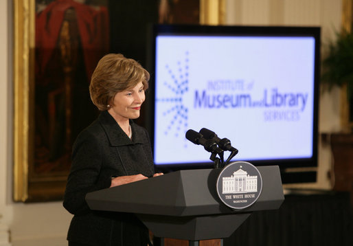 Mrs. Laura Bush offers remarks at the 2008 National Medals for Museum and Library Service Ceremony in the East Room of the White House, Oct. 7, 2008. The First Lady honored five libraries and five museums for their outstanding contributions to public service. White House photo by Chris Greenberg