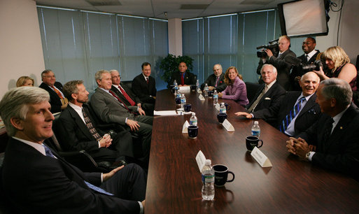 President George W. Bush meets with state and local business leaders Tuesday, Oct. 7, 2008, during his visit to the Guernsey Office Products, Inc. in Chantilly, Va., where President Bush also addressed remarks on the Emergency Economic Stabilization Act of 2008. White House photo by Chris Greenberg