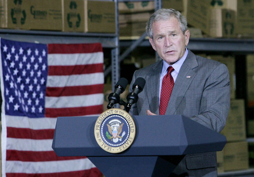 President George W. Bush addresses his remarks on the nation's economy to state and local business leaders Tuesday, Oct. 7, 2008, during his visit to the Guernsey Office Products, Inc. in Chantilly, Va. President Bush said the Emergency Economic Stabilization Act of 2008 will take time to have its full effect in improving the economy. White House photo by Chris Greenberg