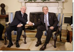President George W. Bush meets with Slovak Republic President Ivan Gasparovic in the Oval Office Thursday, Oct. 9, 2008, at the White House. White House photo by Eric Draper