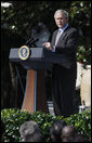 President George W. Bush addresses his remarks Thursday, Oct.9, 2008, during the South Lawn celebration of Hispanic Heritage Month at the White House. White House photo by Eric Draper