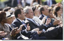 President George W. Bush sits with Panama's Ambassador to the United States Frederico A. Humbert, during festivities Thursday, Oct. 9, 2008, celebrating Hispanic Heritage Month on the South Lawn at the White House.  White House photo by Eric Draper