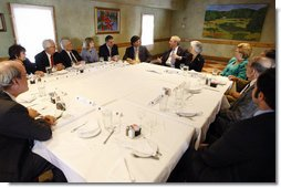 President George W. Bush meets with Cuban American community leaders Friday, Oct. 10, 2008, at Havana Harry's restaurant in Coral Gables, Fla. White House photo by Eric Draper