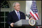 President George W. Bush addresses his remarks on the economy Friday morning, Oct. 10, 2008, in the Rose Garden at the White House. President Bush said that he understands that the startling drop in the stock market over the past few days has been a deeply unsettling period for the American people, but they need to know that the United States government is acting, and will continue to act to resolve this crisis and restore stability to our markets. White House photo by David Bohrer