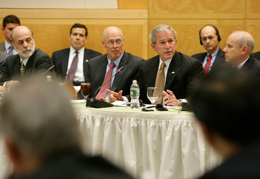 President George W. Bush delivers remarks during a meeting of G-20 Finance Ministers and Central Bank Governors Saturday, Oct. 11, 2008, in Washington, D.C. President Bush is joined by from left to right, Federal Reserve Chairman Ben Bernanke, Treasury Secretary Henry Paulson, Brazilian Minister of Finance Guido Mantega and Central Bank President Henrique Meirelles. White House photo by Chris Greenberg