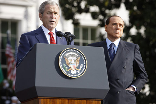 President George W. Bush addresses his remarks Monday, Oct. 13, 2008, welcoming Italian Prime Minister Silvio Berlusconi to the White House. White House photo by Eric Draper