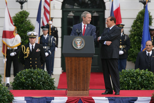 "President George W. Bush delivers his remarks welcoming Prime Minister Silvio Berlusconi of Italy upon his arrival Monday, Oct. 13, 2008, during a South Lawn Arrival Ceremony for Prime Minister Silvio Berlusconi of Italy at the White House. The President said during his remarks, ""With the visit today of Prime Minister Berlusconi, we reaffirm the close and trusting friendship between our two countries. For more than six decades, America and Italy have been partners in the work of freedom and progress. We look to the future with confidence."" White House photo by Chris Greenberg"