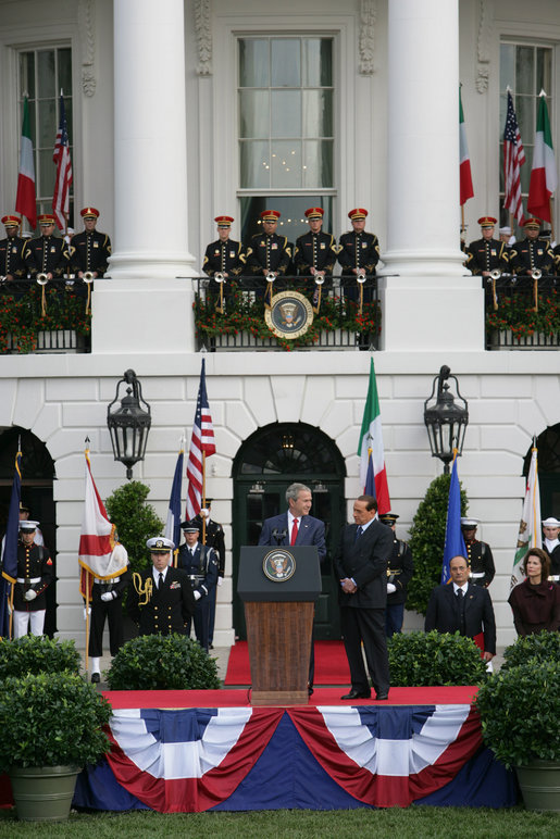 President George W. Bush delivers his remarks welcoming Prime Minister Silvio Berlusconi of Italy upon his arrival Monday, Oct. 13, 2008, during a South Lawn Arrival Ceremony for Prime Minister Silvio Berlusconi of Italy at the White House. White House photo by Chris Greenberg
