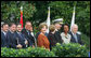 Mrs. Laura Bush stands on the South Lawn of the White House Oct. 13, 2008, during the State Arrival for Italian Prime Minister Silvio Berlusconi. Standing next to Mrs. Bush near the arrival podium are Mrs. Deborah Mullen, Admiral Mike Mullen, Chairman of the Joint Chiefs of Staff, Secretary of State Condoleezza Rice and Vice President Dick Cheney. White House photo by Joyce N. Boghosian