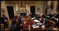 "President George W. Bush meets with his Working Group on Financial Markets Tuesday, Oct. 14, 2008, in the Roosevelt Room of the White House. Afterward, the President said, ""I know Americans are deeply concerned about the stress in our financial markets, and the impact it is having on their retirement accounts, and 401(k)s, and college savings, and other investments. I recognize that the action leaders are taking here in Washington and in European capitals can seem distant from those concerns. But these efforts are designed to directly benefit the American people by stabilizing our overall financial system and helping our economy recover."" White House photo by Eric Draper"