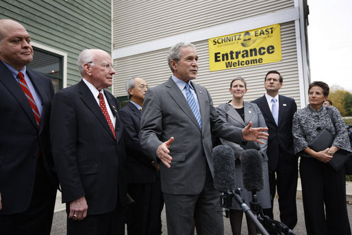 "President George W. Bush delivers a statement after meeting with local business leaders Wednesday, Oct. 15, 2008, in Ada, Michigan. Said the President, ""I want to thank you all for giving me a chance to hear from you. We've got some community bankers here that have been affected by the plan we put in place. And their bank lending is now secured by the FDIC. And I bring a sense of optimism and realism. I'm realistic about how tough the situation is. I'm optimistic that we're going to come through it. And I believe when we come thru it we're going to be better than ever."" White House photo by Eric Draper"