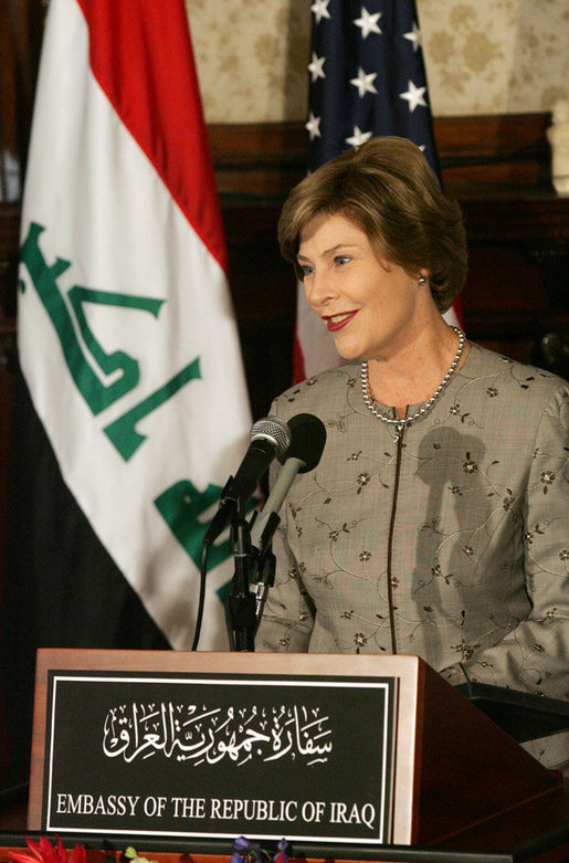 "Mrs. Laura Bush delivers remarks at the launching of the Iraq Cultural Heritage Project Thursday, Oct. 16, 2008, at the Iraq Embassy in Washington, D.C. Mrs. Laura Bush said, ""The Iraq Cultural Heritage Project will promote national unity by highlighting the rich heritage that all Iraqis share. And the Project will benefit all humanity by preserving the great historic sites, archaeological wonders, and cultural objects that tell the story of the world's earliest communities."" White House photo by Joyce N. Boghosian"