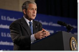 "President George W. Bush addresses the United States Chamber of Commerce Friday, Oct. 17, 2008, in Washington, D.C. The President spoke on the state of the economy and thanked the Chamber and its members for ""efforts to support the spirit of free enterprise, and to advance the interests of business, large and small, across our great country.""  White House photo by Eric Draper"