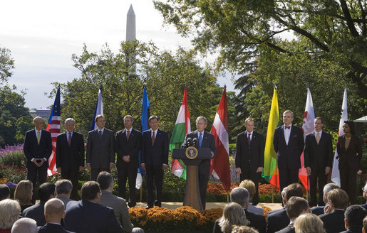 "Joined on stage by U.S. Secretary of State Condoleezza Rice, Director Michael Chertoff of the Department of Homeland Security, left, and ambassadors of countries joining the Visa Waiver program, President George W. Bush delivers a statement on the program Friday, Oct. 17, 2008, in the Rose Garden of the White House. Said the President, ""I'm pleased to stand with the representatives of seven countries -- the Czech Republic, Estonia, Hungary, Latvia, Lithuania, Slovakia, and South Korea -- that have met the requirements to be admitted to the United States Visa Waiver Program. Soon the citizens of these nations will be able to travel to the United States for business or tourism without a visa. I congratulate these close friends and allies on this achievement, and I thank you for joining us here."" White House photo by Joyce N. Boghosian"