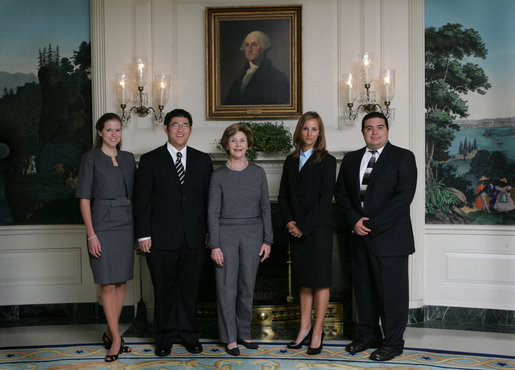 Mrs. Laura Bush poses Oct. 21, 2008 with the U.S. National Commission for UNESCO Laura W. Bush Traveling Fellows in the Diplomatic Reception Room of the White House. From left are Laura Olsen, David Lee, Heather McGee and Michael Aguilar. White House photo by Joyce N. Boghosian