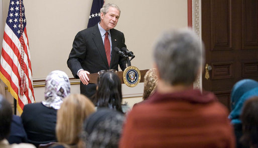 President George W. Bush meets with participants of the U.S. Middle East Partnership Initiative Thursday, Oct. 23, 2008, in the Eisenhower Executive Office Building at the White House. Sponsored by the U.S. State Department, the program participants - approximately 50 women political leaders from the Middle East and North Africa -- are given an opportunity to learn from our country's experience in electoral campaigning and affords them a chance to witness local and Presidential elections up close. White House photo by Eric Draper