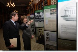"Mrs. Laura Bush is shown the ""Abraham Lincoln: A Man of His Time, A Man for All Times' exhibition, Friday, Oct. 24, 2008 in New York City by Dr. James Basker, President of the Gilder Lehrman Institute of American History. The tour at the Lincoln Room of Union League Club in New York City was immediately prior to the Fifth Annual Preserve America History Teacher of the Year Award ceremony.  White House photo by Chris Greenberg"