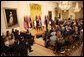 President George W. Bush addresses his remarks to invited guests Friday, Oct. 24, 2008 in the East Room of the White House, prior to signing the NATO accession protocols in support of the nations of Albania and Croatia to join the NATO alliance. White House photo by Chris Greenberg