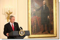 President George W. Bush welcomes guests Monday evening, Oct. 27, 2008 to the East Wing of the White House, to celebrate the 150th birthday and contributions of Theodore Roosevelt, the 26th President of the United States. White House photo by Chris Greenberg