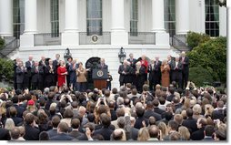"President George W. Bush speaks to employees of the Executive Office of the President Thursday, Nov. 6, 2008, about the upcoming transition. In thanking the staff, the President said, ""The people on this lawn represent diverse backgrounds, talents, and experiences. Yet we all share a steadfast devotion to the United States. We believe that service to our fellow citizens is a noble calling -- and the privilege of a lifetime.""  White House photo by Joyce N. Boghosian"