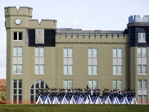 Virginia Military Institute Corps of Cadets march onto the VMI Parade Ground where Vice President Dick Cheney addressed the Corps during the institute's annual Military Appreciation Day festivities, Saturday, Nov. 8, 2008, in Lexington, Va. White House photo by David Bohrer