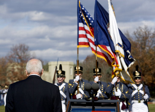 Vice President Dick Cheney stands to receive honors Saturday, Nov. 8, 2008, during the Virginia Military Institute's annual Military Appreciation Day in Lexington, Va. White House photo by David Bohrer