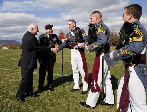 Vice President Dick Cheney greets members of the Virginia Military Institute regimental staff Saturday, Nov. 8, 2008, during Military Appreciation Day at VMI's Parade Ground in Lexington, Va. White House photo by David Bohrer