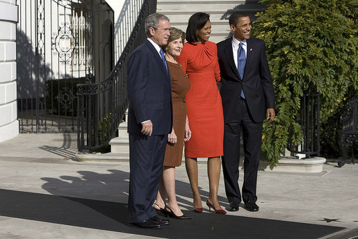 President George W. Bush and Mrs. Laura Bush welcome President-elect Barack Obama and Mrs. Michelle Obama to the White House Monday, Nov. 10, 2008, after the couple's South Portico arrival. White House photo by Eric Draper