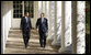 President George W. Bush and President-elect Barack Obama walk the Colonnade to the Oval Office Monday, Nov. 10, 2008, as the President and Mrs. Laura Bush welcomed the President-elect and his wife, Michelle, to the White House. White House photo by Eric Draper