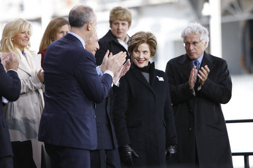 Mrs. Laura Bush acknowledges applause as she is introduced on stage Tuesday, Nov. 11, 2008, at the rededication ceremony for the Intrepid Sea, Air and Space Museum in New York. White House photo by Eric Draper